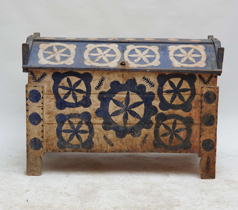 Folk Art Painted Coffer For Sale