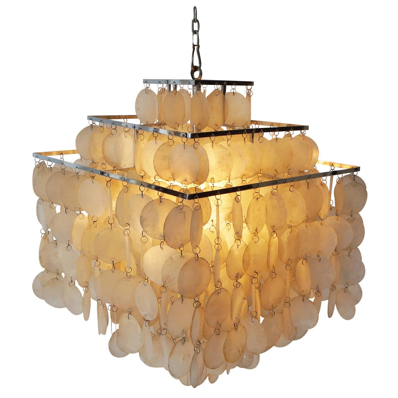 Shell Chandeliers Lighting : Capiz shell chandelier by verner panton for sale at stdibs