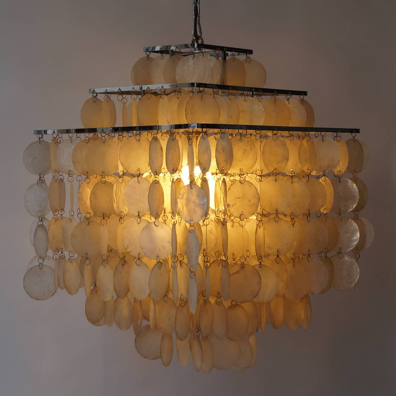capiz shell chandelier by verner panton 2 - Capiz Shell Chandelier