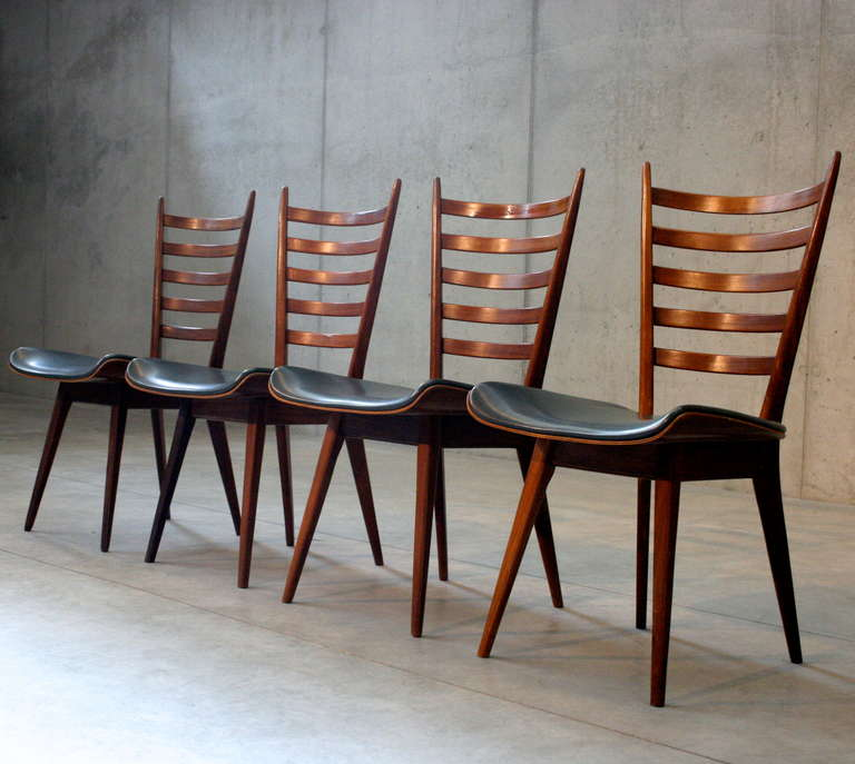 Set of four Mid-Century dining chairs by Cees Braakman. Holland.