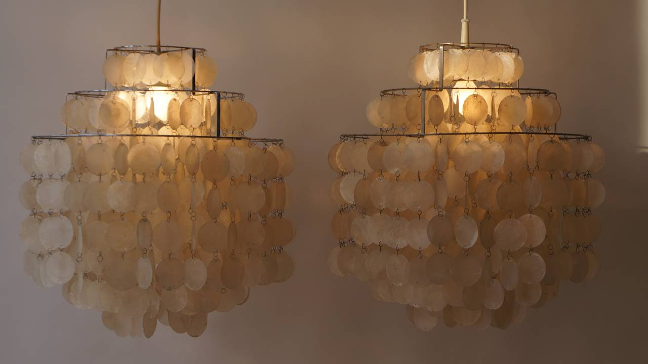 this two original capiz shell chandeliers by verner panton is no. Black Bedroom Furniture Sets. Home Design Ideas