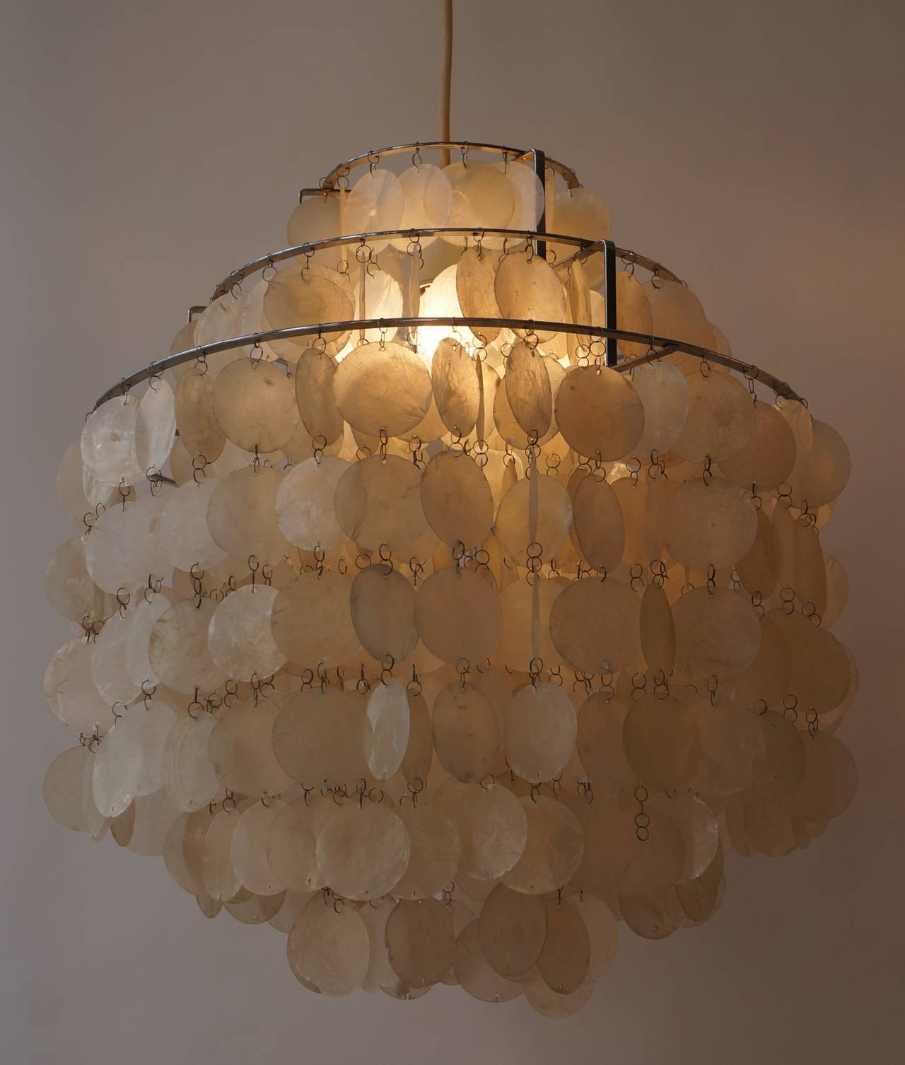 Two Original Capiz Shell Chandeliers By Verner Panton At