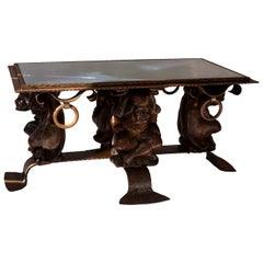 Unique Mid-Century Modern Rustic Metal Coffee Table