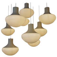 Set of Three Mushroom Ceiling Lights
