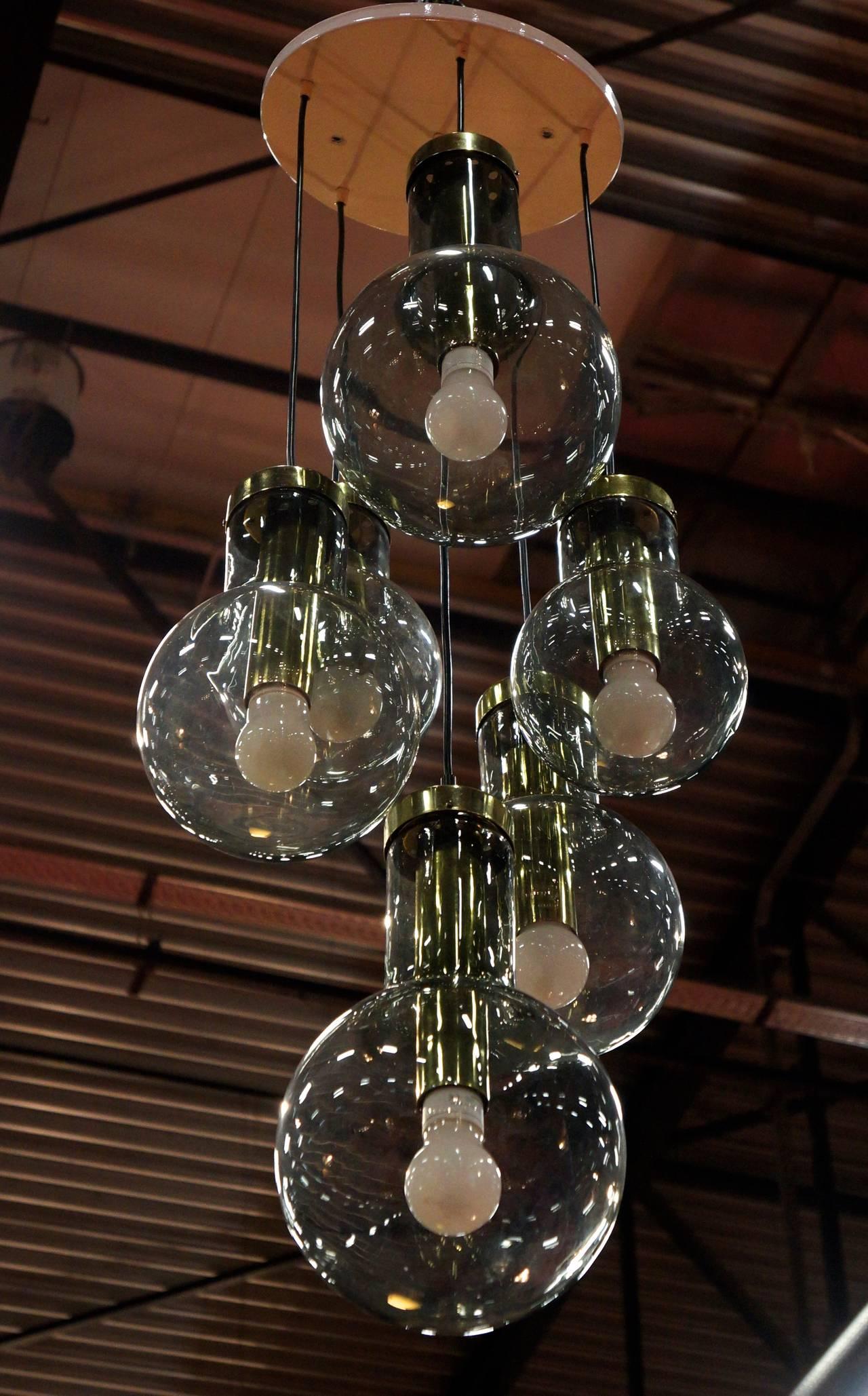 Huge raak ceiling mount cascade lamp for sale at 1stdibs impressive 1970s cascading chandelier by raak netherlands six large smoke glass globe pendants in arubaitofo Gallery