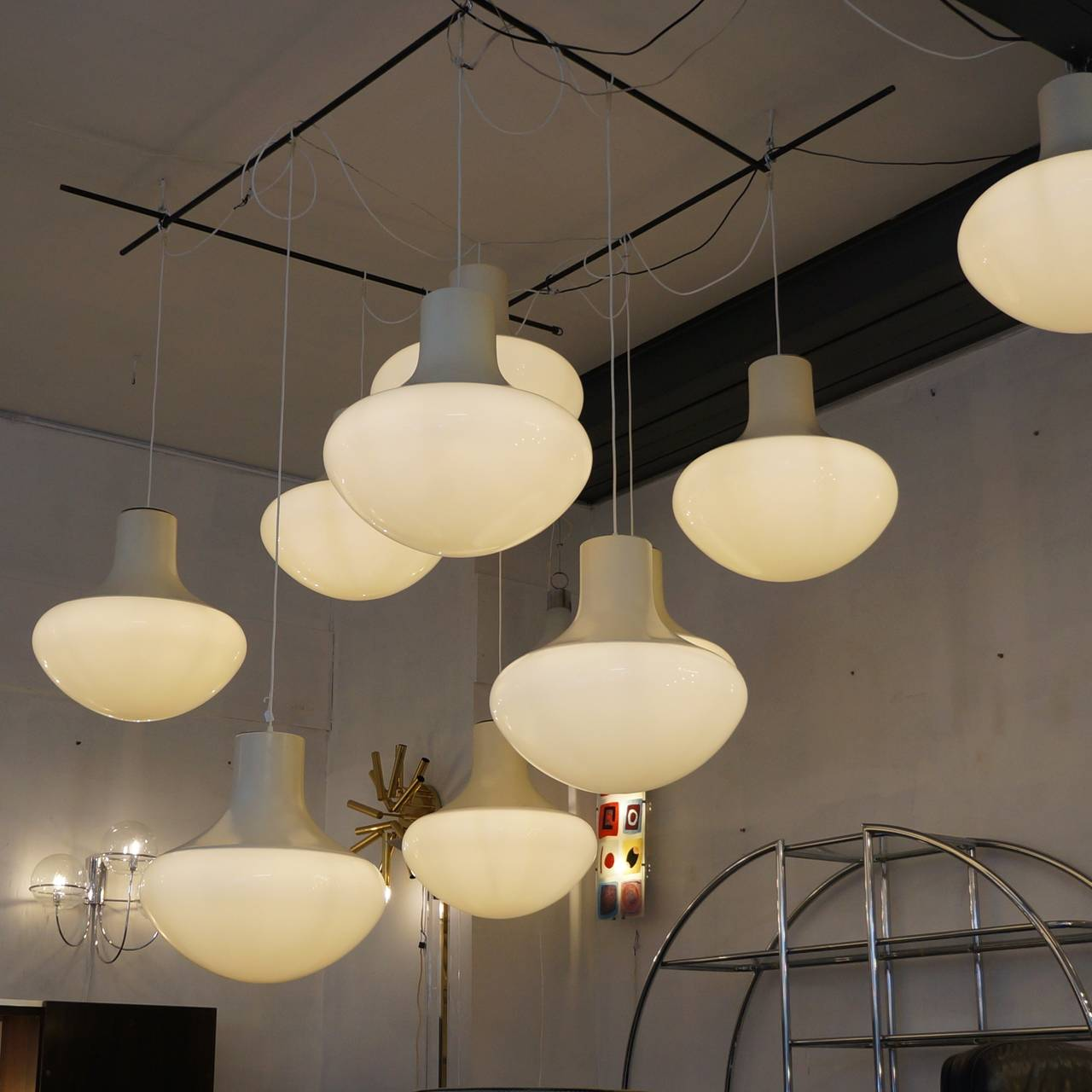 Mid-Century Modern One of Three Mushroom Ceiling Lights For Sale