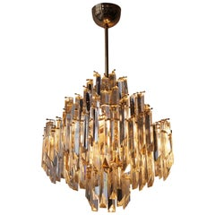 Italian Brass gilt and Murano Crystal Glass Chandelier