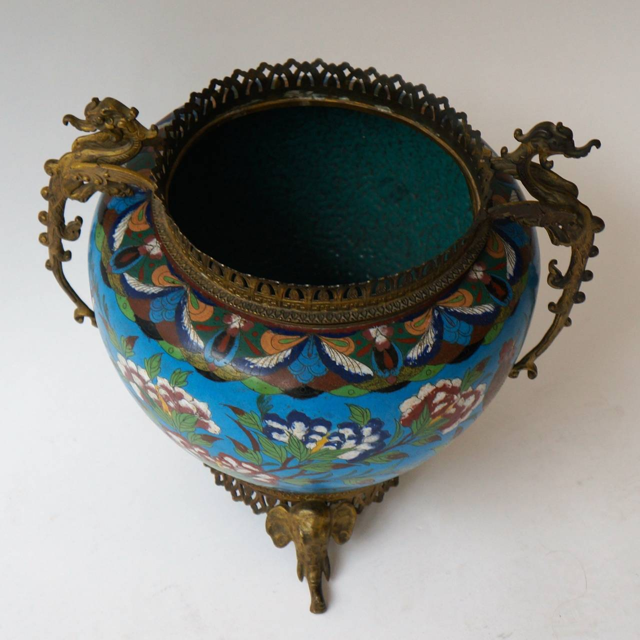 Enamel Large Chinese Cloisonné Jardinière or Planter Pot For Sale