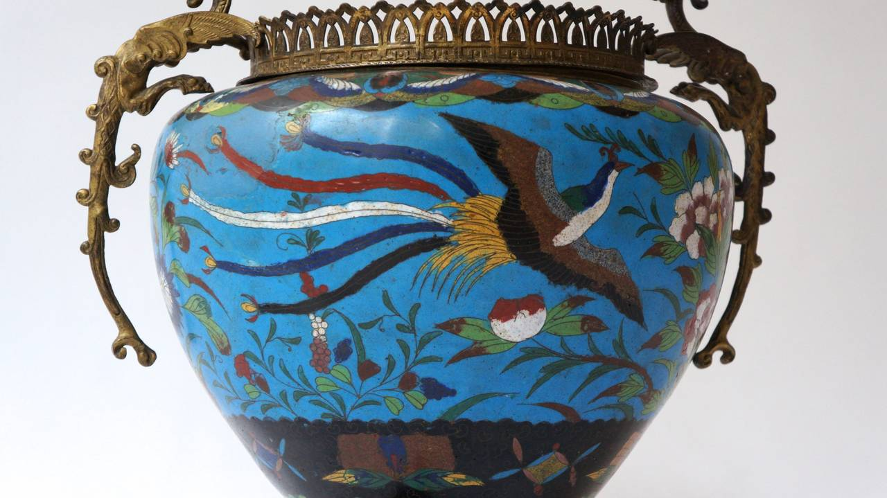Large Chinese Cloisonné Jardinière or Planter Pot For Sale 2