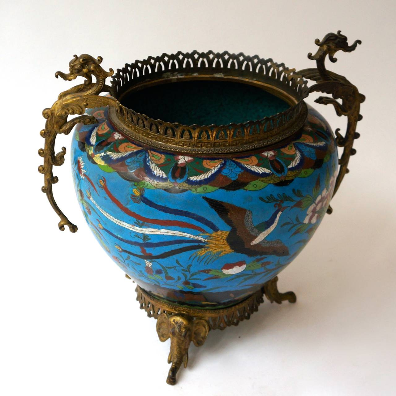 Large Chinese Cloisonné Jardinière or Planter Pot For Sale 1