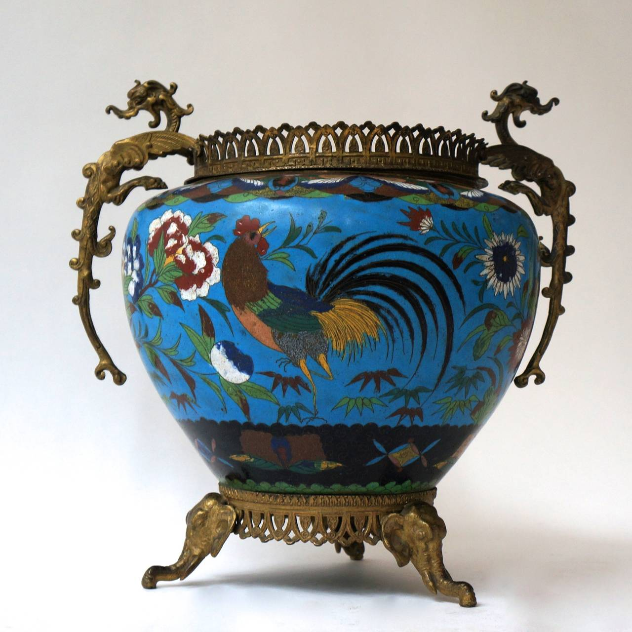 Chinoiserie Large Chinese Cloisonné Jardinière or Planter Pot For Sale