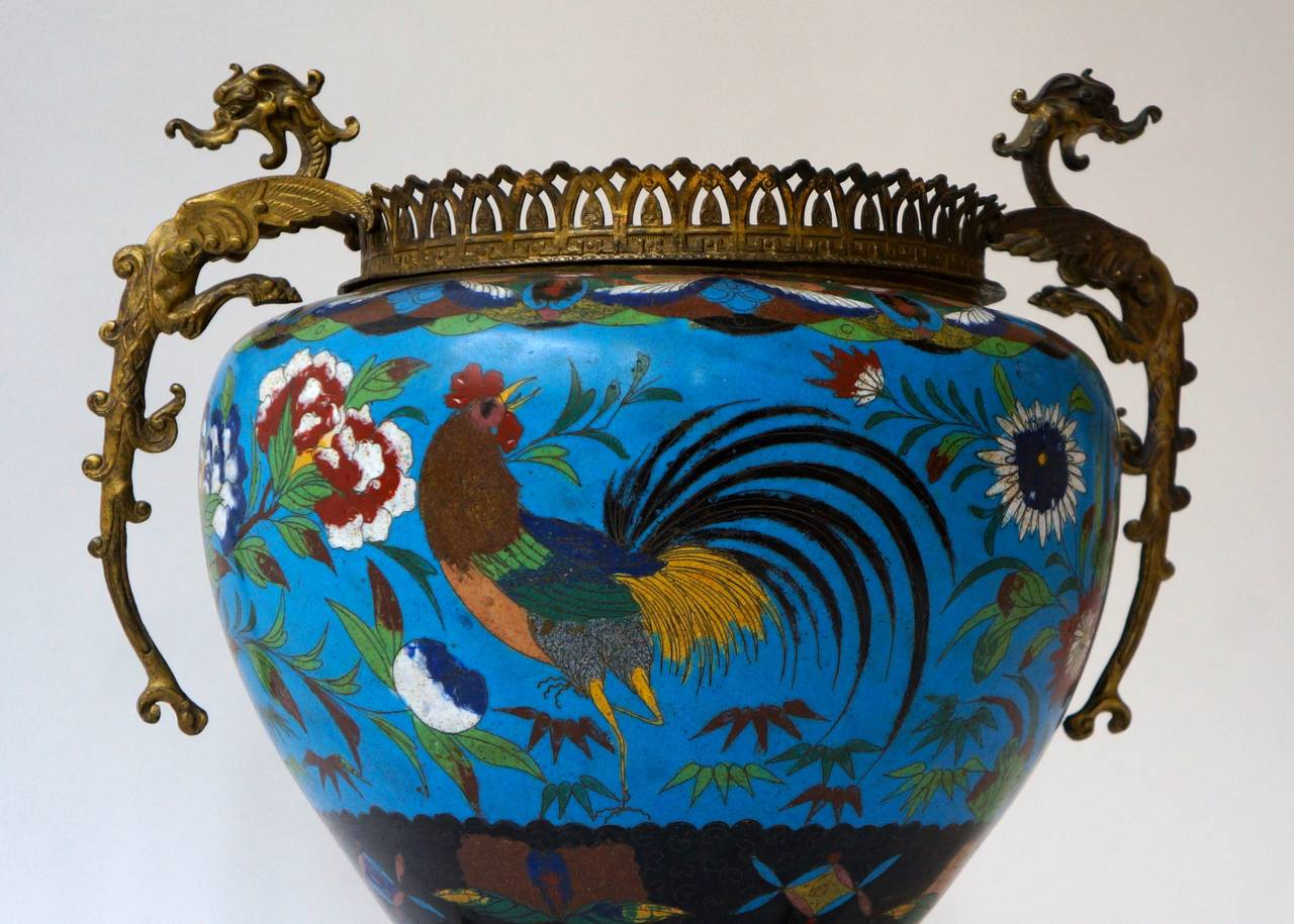 Large Chinese Cloisonné Jardinière or Planter Pot For Sale 3