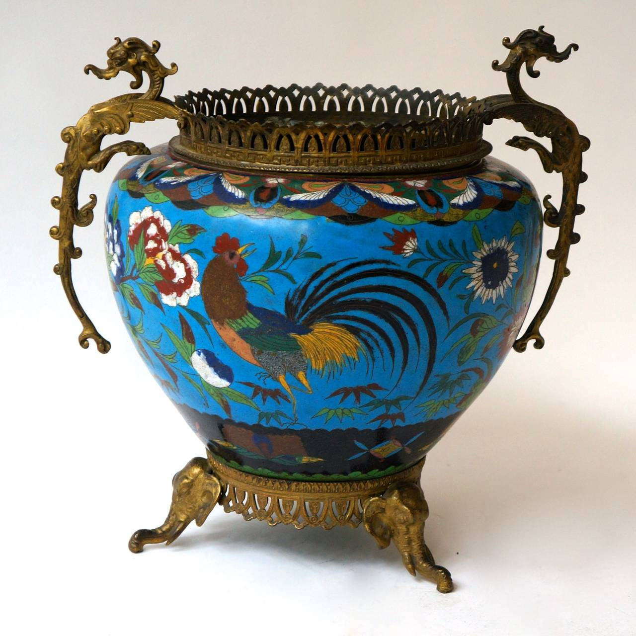 A large cloisonné´ jardinière or planter pot or bowl.