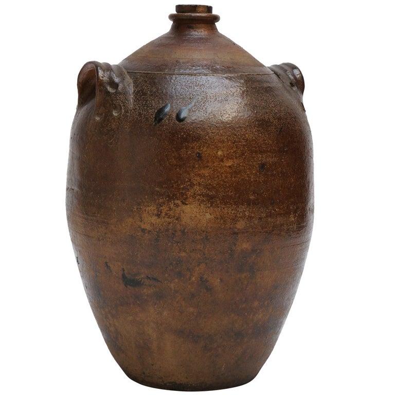 Large Glazed Stoneware Jug For Sale
