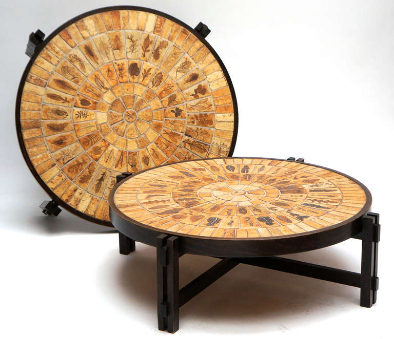 Mid-20th Century Two Coffee Tables by Roger Capron, circa 1955 For Sale