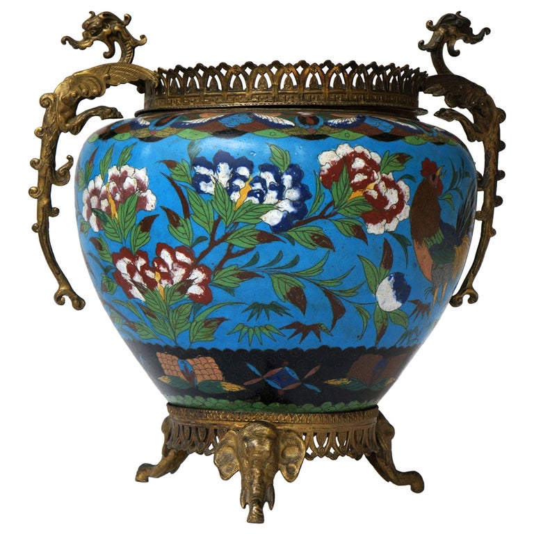 Large Chinese Cloisonné Jardinière or Planter Pot For Sale