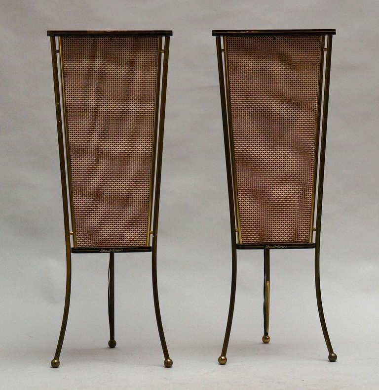 Mid-Century Modern Walnut Schaub Lorenz End Table Speakers For Sale