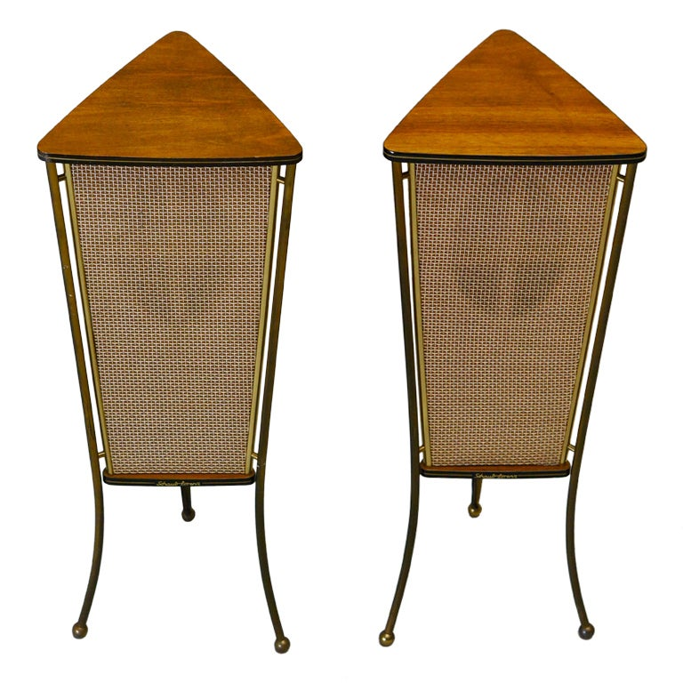 Walnut Schaub Lorenz End Table Speakers For Sale