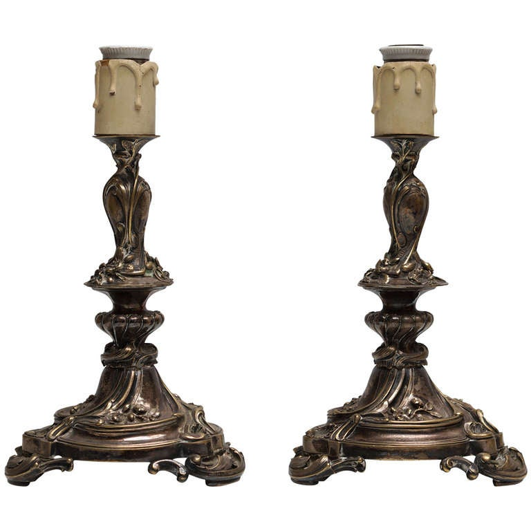 Pair of Art Nouveau Table Lamps For Sale