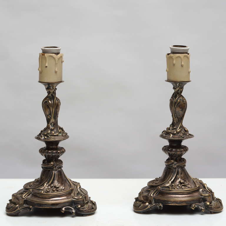 Pair of Art Nouveau table lamps.