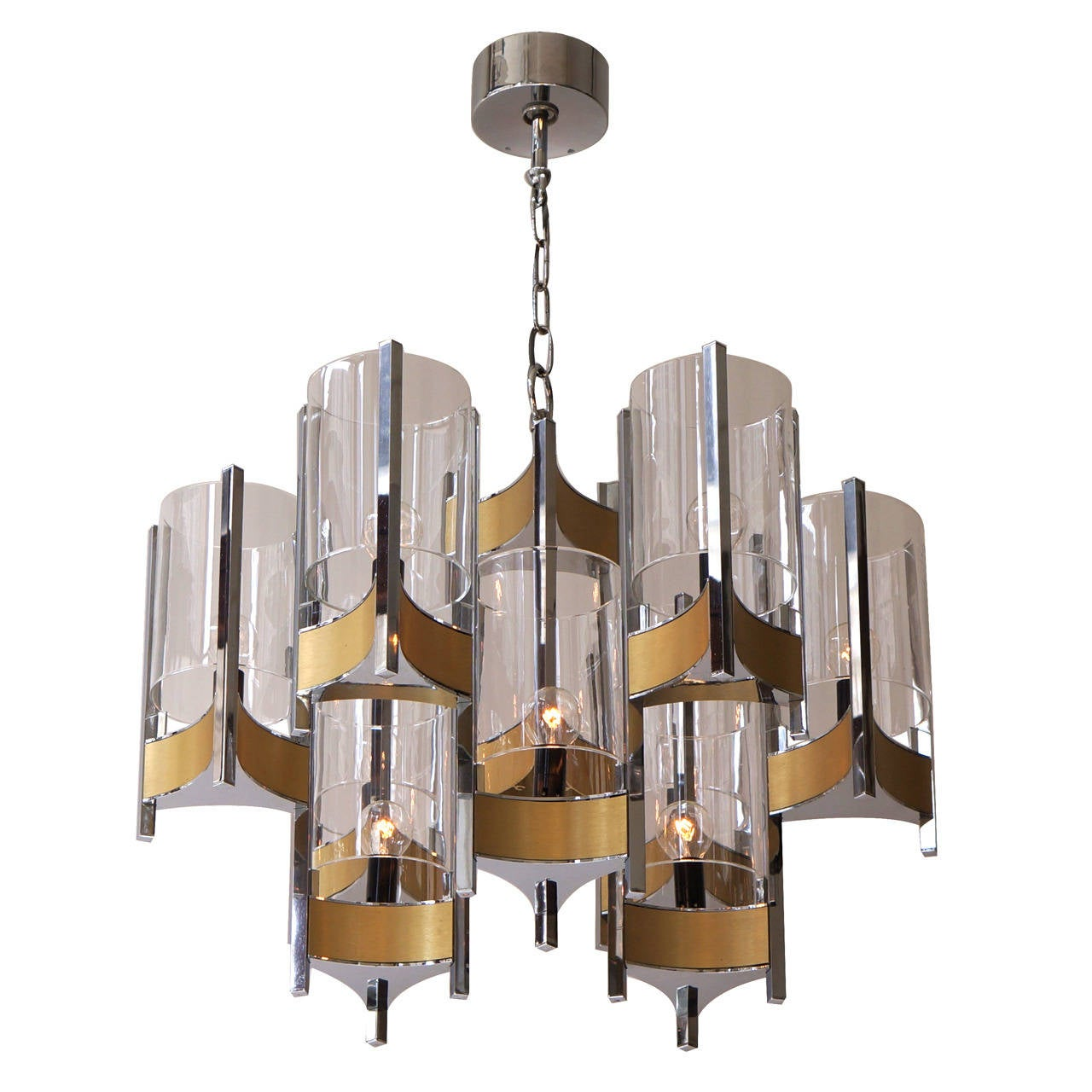 Set of Four Sculptural Sciolari Chandeliers