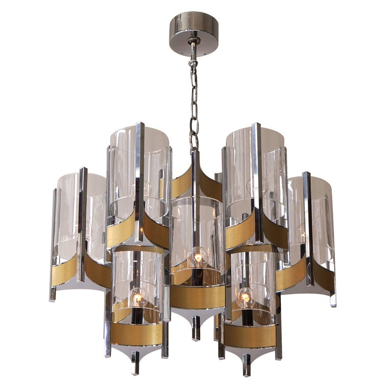 Set of Four Sculptural Sciolari Chandeliers For Sale