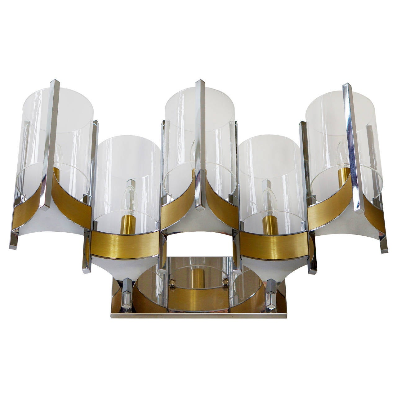 Sciolari Set Of Three Brass, Chrome And Glass Cylinder Sconces, Italy, 1970s