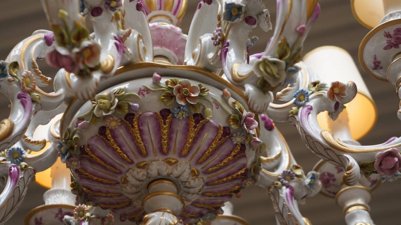 Capodimonte Porcelain Eight Light Chandelier Italy For 2