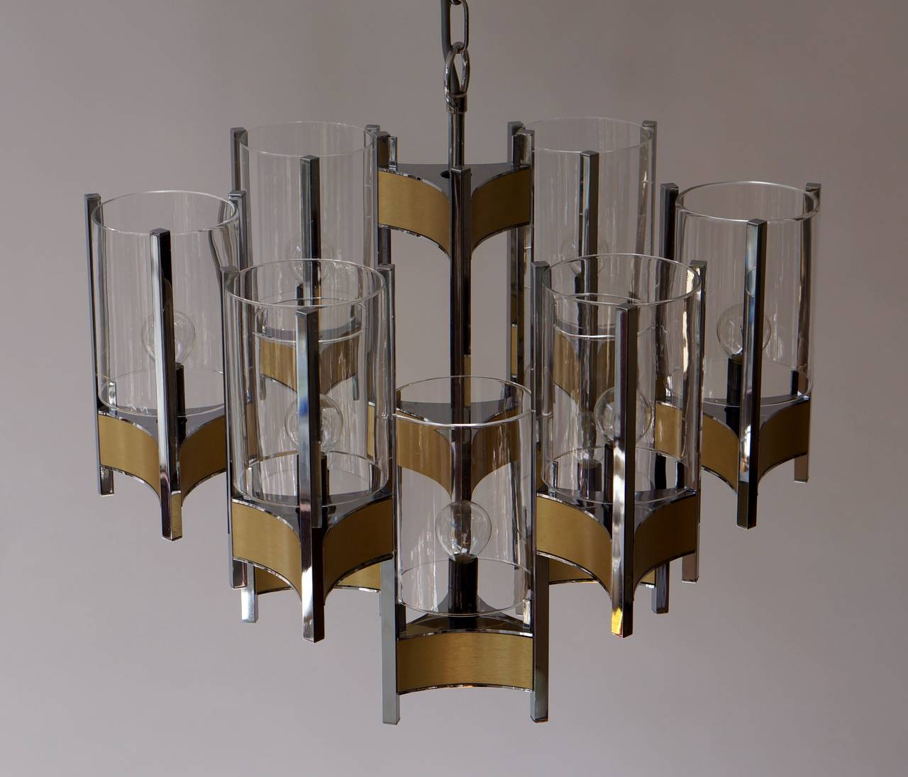 Brass Set of Four Sculptural Sciolari Chandeliers For Sale