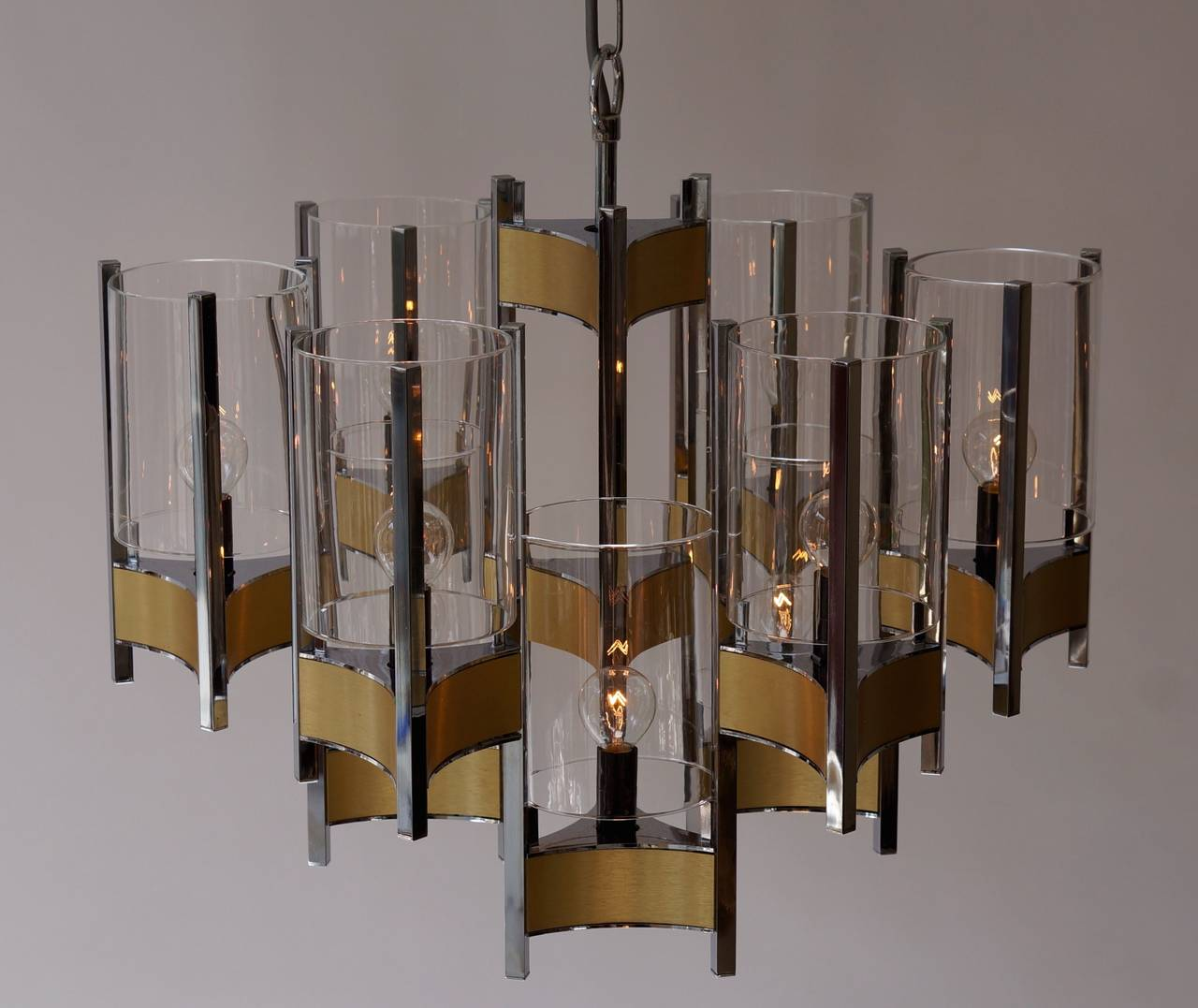 20th Century Set of Four Sculptural Sciolari Chandeliers For Sale