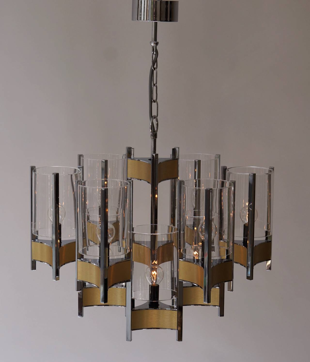 Italian Set of Four Sculptural Sciolari Chandeliers For Sale