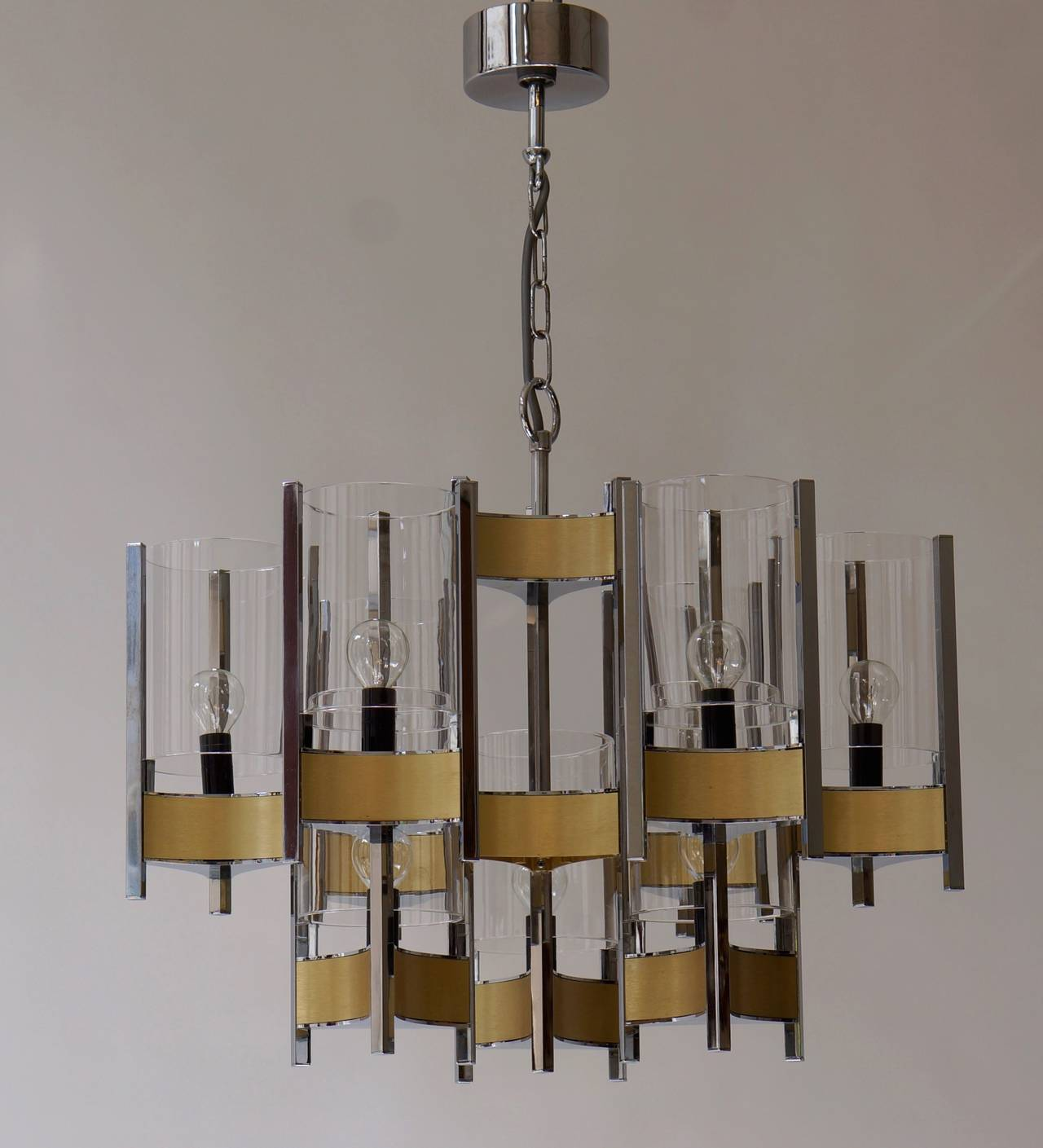 Mid-Century Modern Set of Four Sculptural Sciolari Chandeliers For Sale