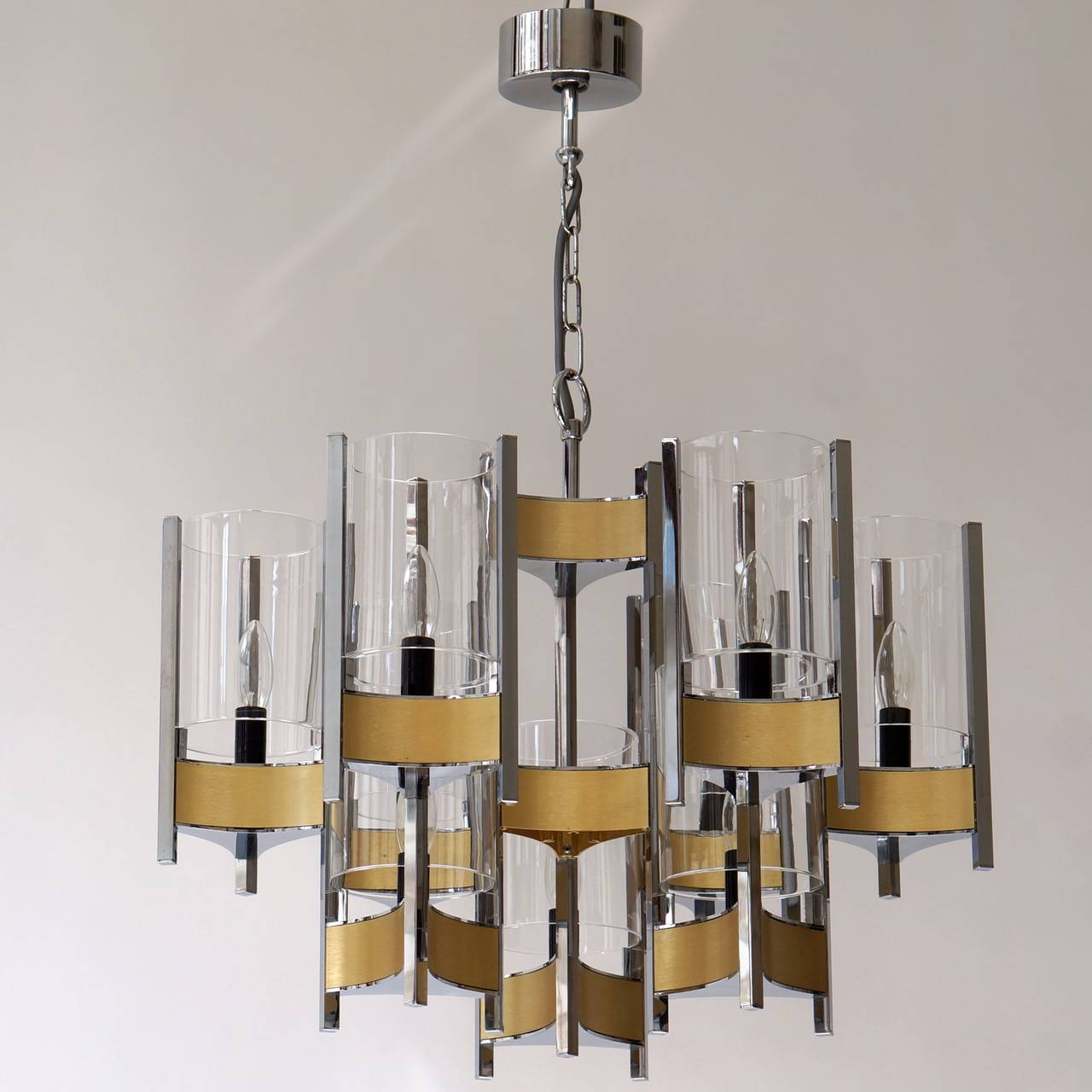 Set of Four Sculptural Sciolari Chandeliers In Good Condition For Sale In Antwerp, BE