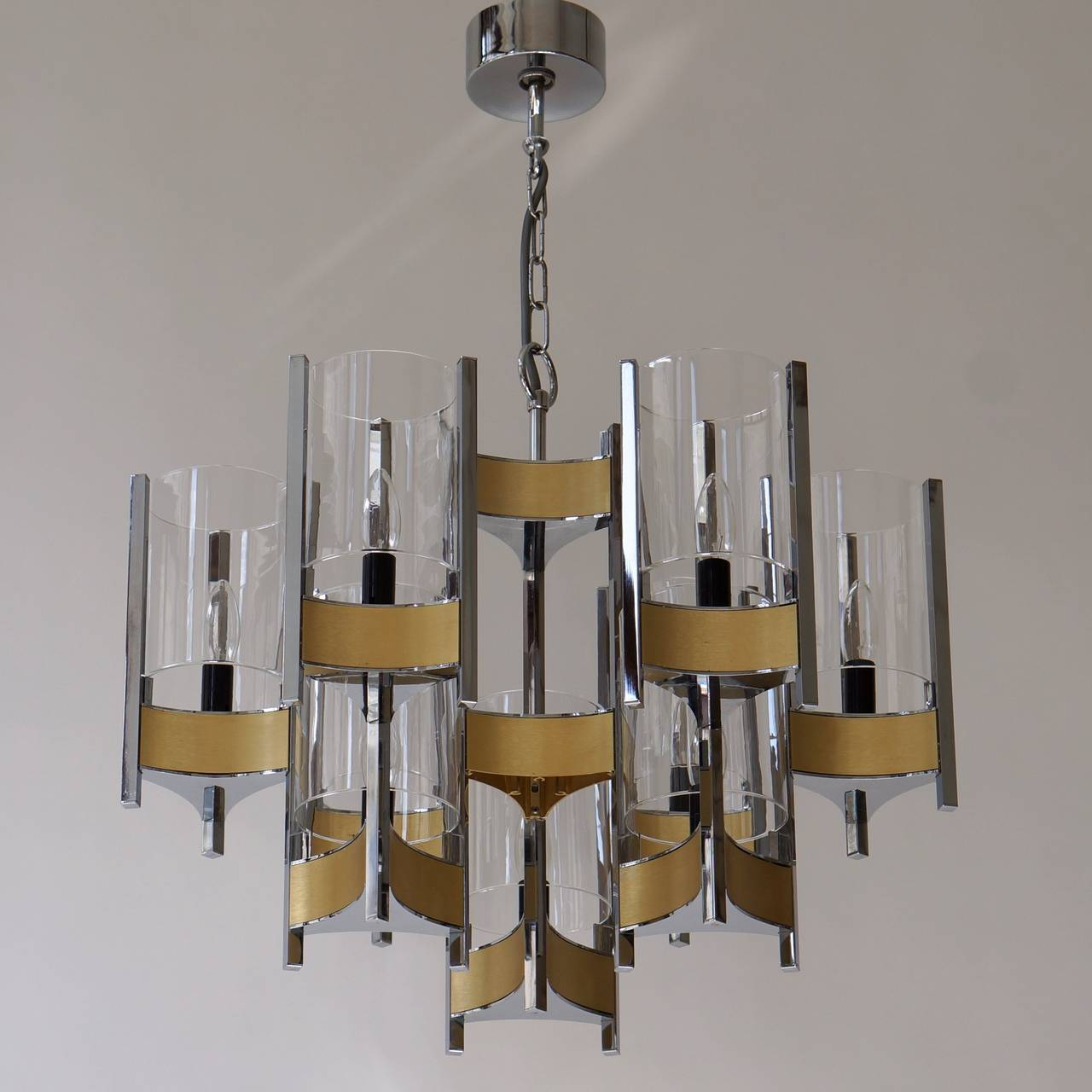 Set of Four Sculptural Sciolari Chandeliers For Sale 1