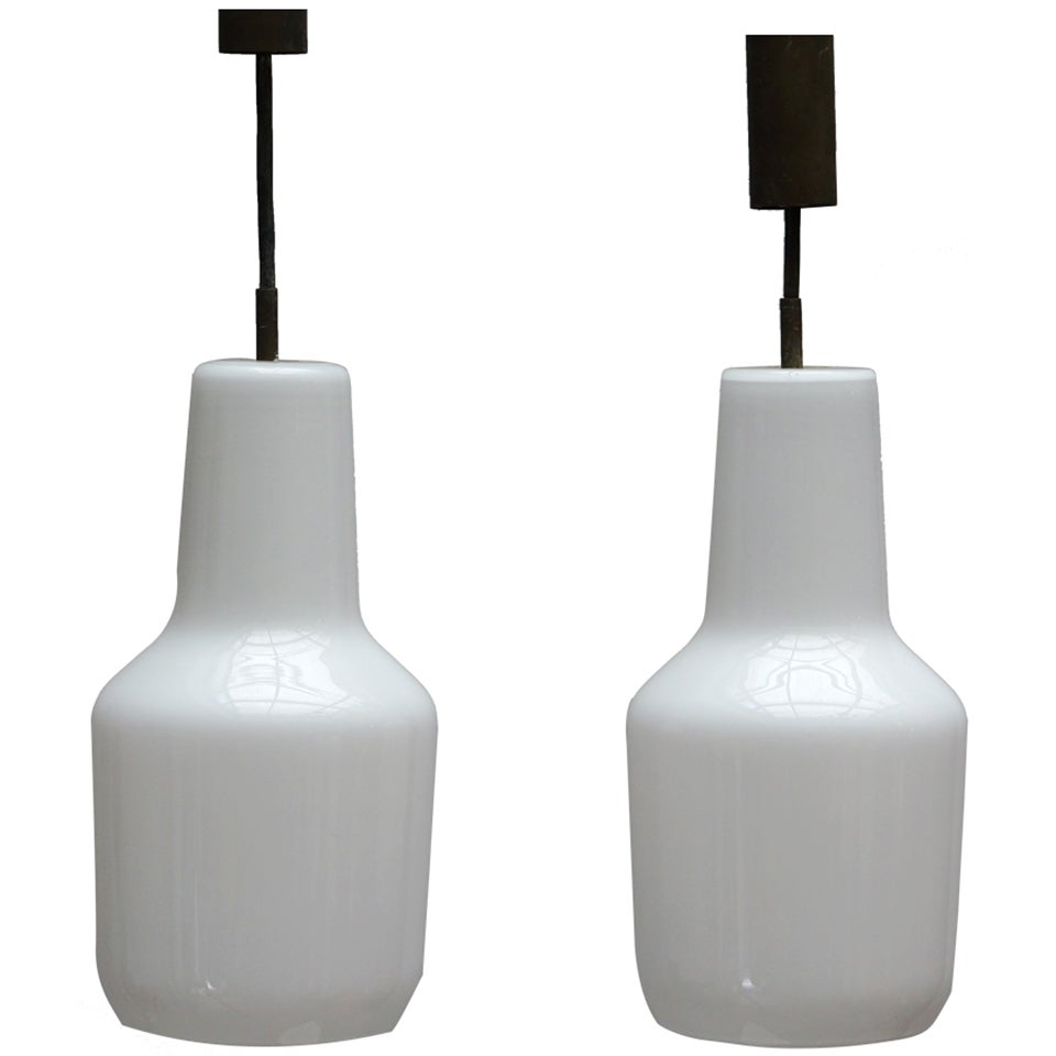 Pair of Venini Massimo Vignelli Pendant Lamps, 1960