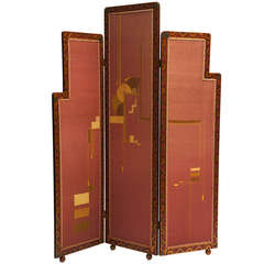 Antique Italian Art Nouveau Folding Screen