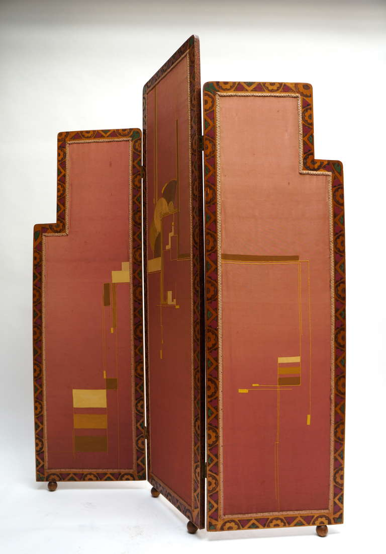 Dutch Art Deco folding screen, room divider. The dimensions of the panels are as follows: Two panels: height 164 cm. Width: 50 cm. Depth: 2 cm. Size middle panel: height 186 cm. Width: 50 cm. Depth: 2 cm.
