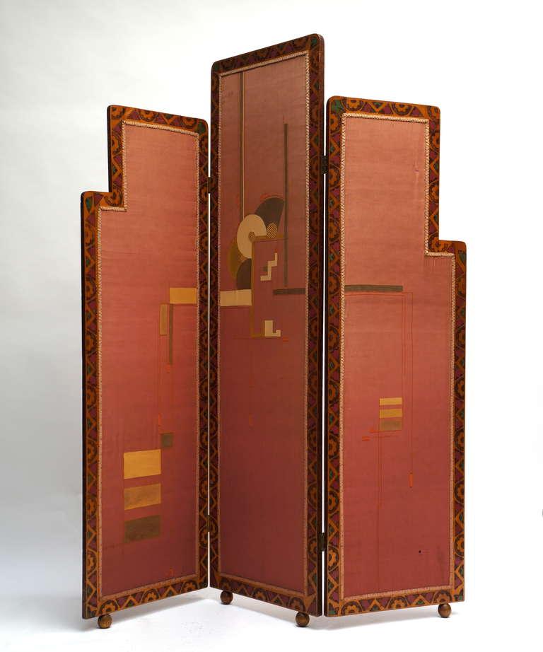 Silk Art Deco Folding Screen For Sale