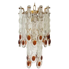 Amber and Clear Murano Glass Chandelier Attributed to Mazzega