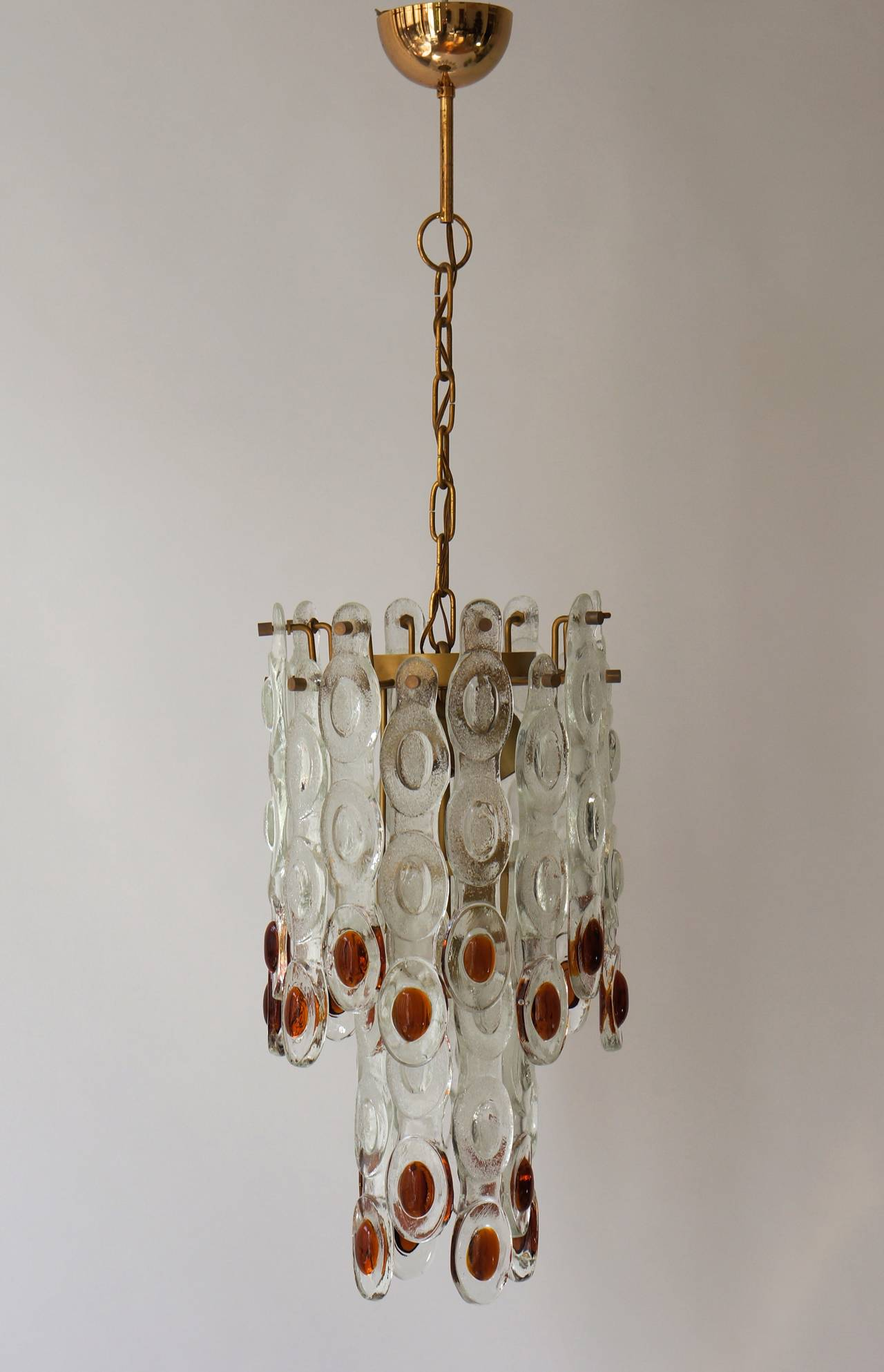 Amber and Clear Murano Glass Chandelier Attributed to Mazzega 2