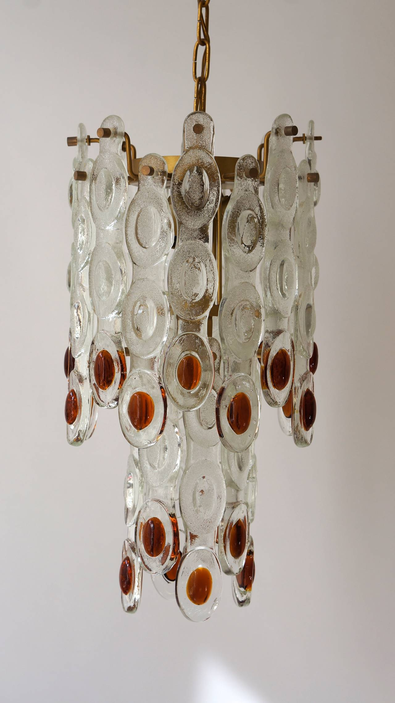 Amber and Clear Murano Glass Chandelier Attributed to Mazzega 4