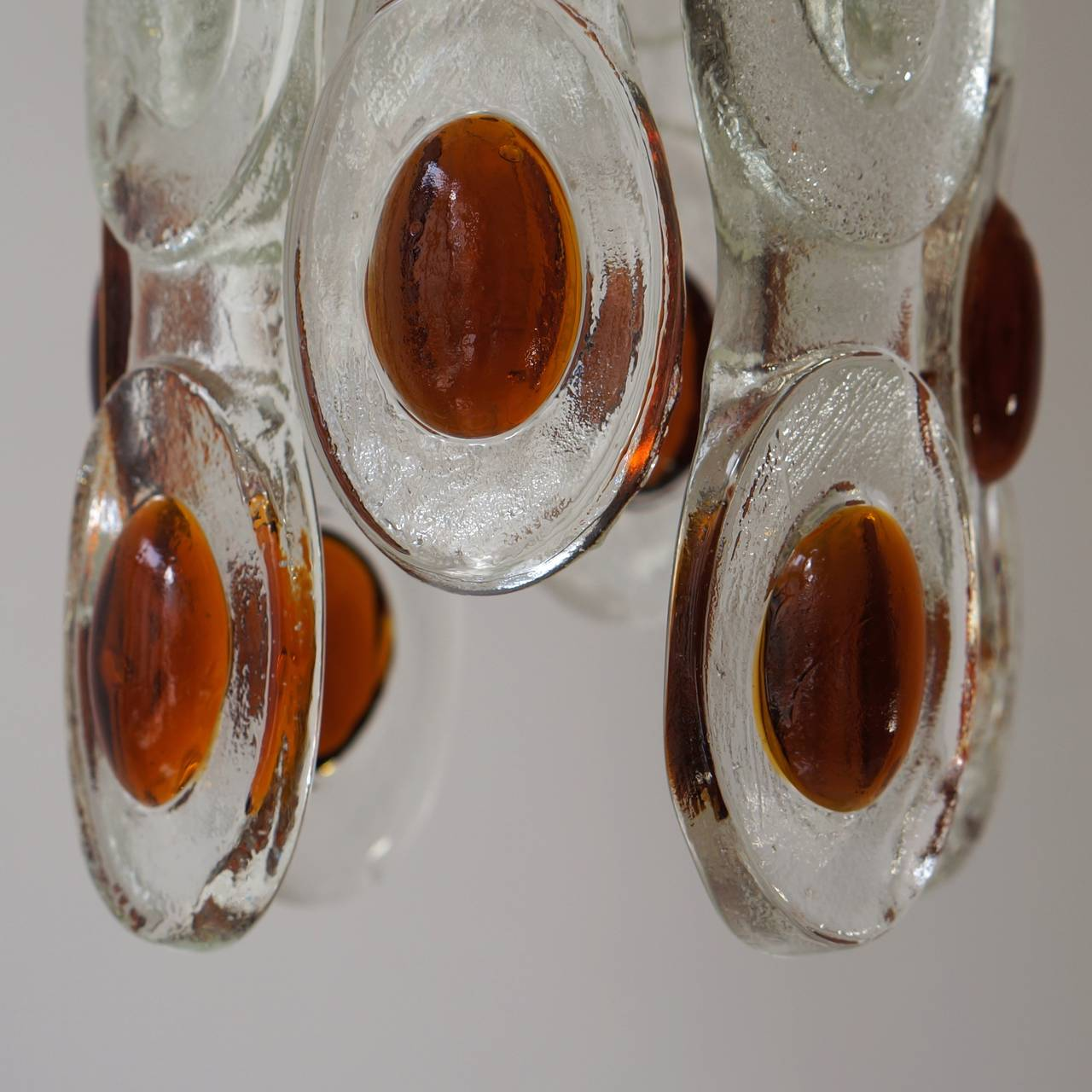 Amber and Clear Murano Glass Chandelier Attributed to Mazzega 7