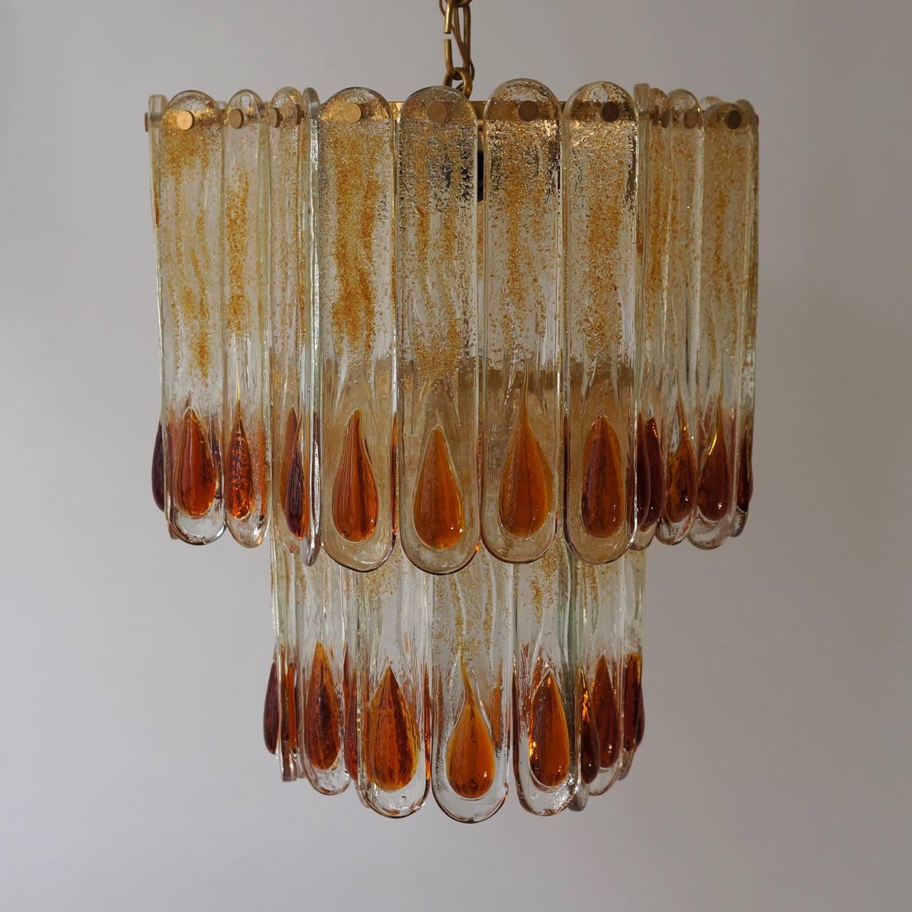 Brass Murano Chandelier For Sale