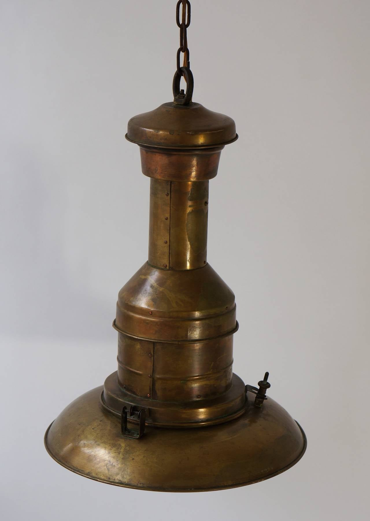 Industrial hanging gas light pendant now electrified with very nice patina, early 20th century.