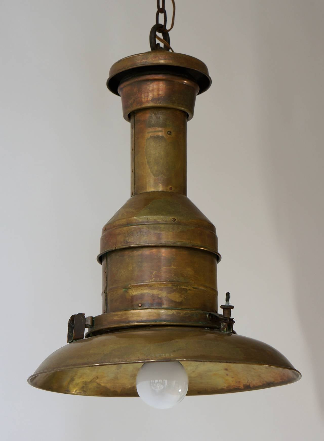 French Industrial Copper  Pendant Light For Sale