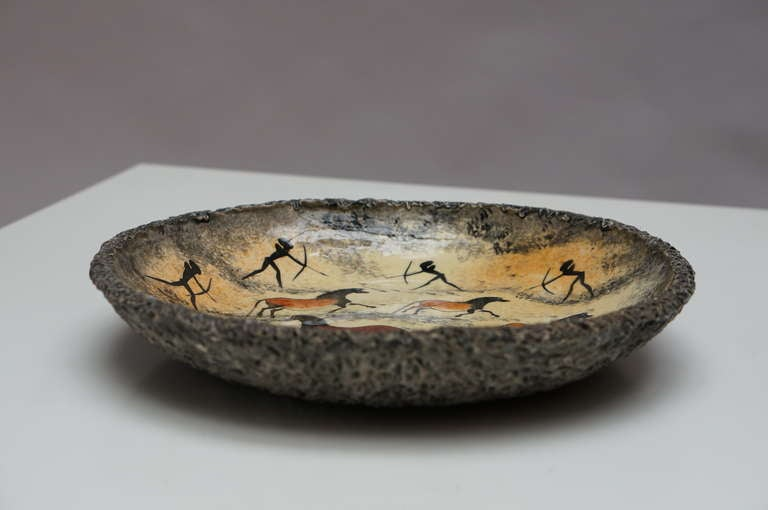 Mid-20th Century Hand-Painted Art Pottery by André Guiron For Sale