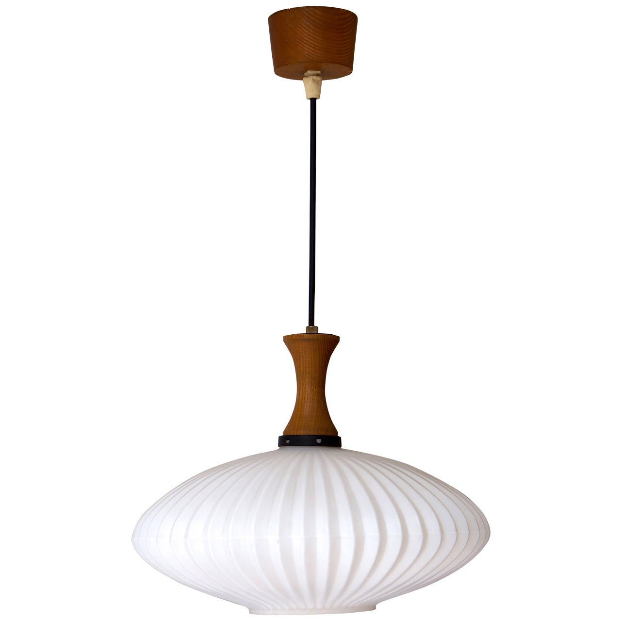 Mid century danish glass and wood chandelier pendant for Mid century modern pendant light fixtures