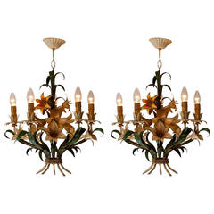 Pair of Italian Tole with Flowers Polychrome Chandeliers