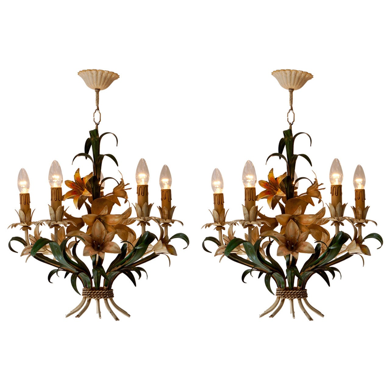 One of Two Italian Tole with Flowers Polychrome Chandeliers