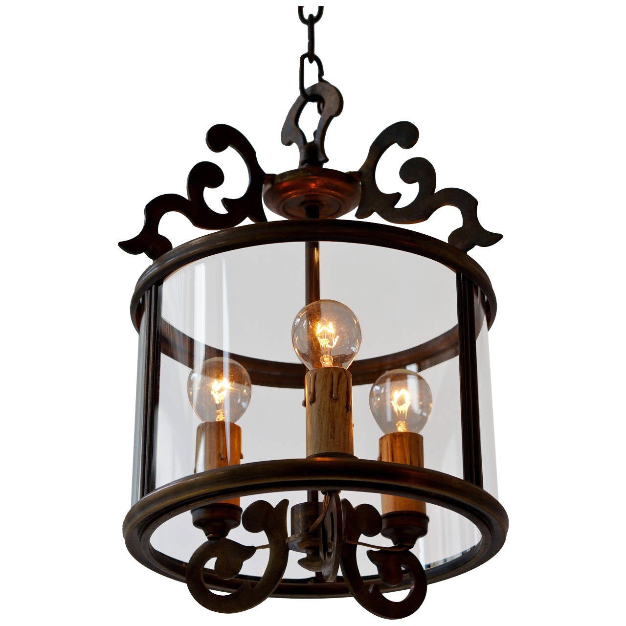 Three Italian Brass Hall Lantern Pendant Lights By Sciolari For Sale
